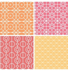 Abstract lineart geometric seamless patterns set vector image