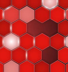 Abstract red background hexagon vector