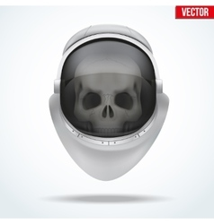 Astronaut space helmet with skull behind visor vector