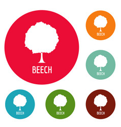 Beech tree icons circle set vector