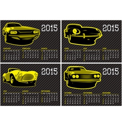 Calendar template with cars on carbon background vector
