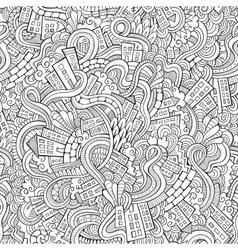 Cartoon doodles hand drawn town vector image vector image