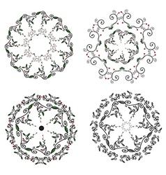Circle ornaments floral set - hand drawn vector image vector image