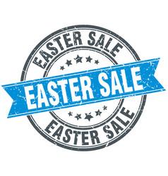 easter sale round grunge ribbon stamp vector image