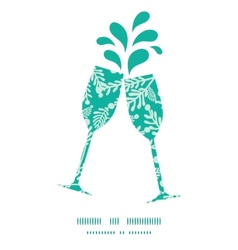 Emerald green plants toasting wine glasses vector