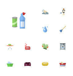 flat icons housekeeping laundry aqua and other vector image vector image