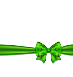 Green silky bow on a white background vector