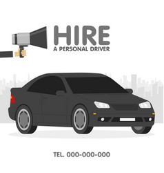 hire a personal driver ads template vector image vector image