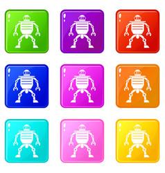 Humanoid robot icons 9 set vector