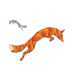 Jumping fox made of triangles vector