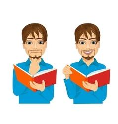 man focused reading interesting book vector image