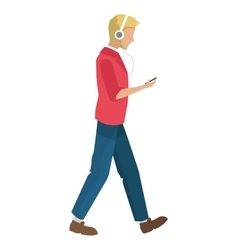 Man walking with headphones and holding cellphone vector