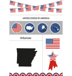 map of arkansas set of flat design icons vector image vector image