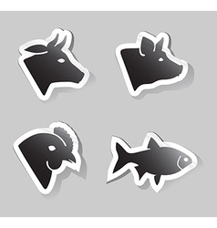 Meat animals icons vector