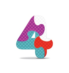 Number 4 written with alphabet puzzle vector