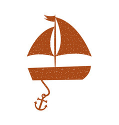 Sailboat sea with anchor vector