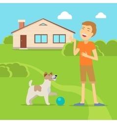 Sanguine temperament type boy with dog vector