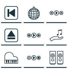 Set of 9 music icons includes dance club song ui vector