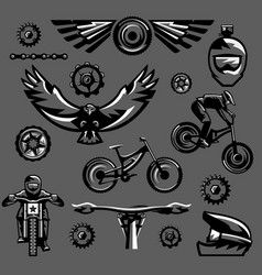 Set of black and white elements on a mountain bike vector