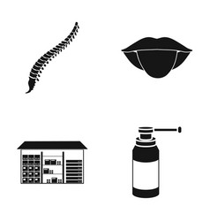 Spine tongue and other web icon in black style vector