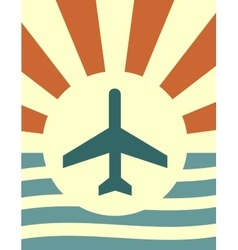 sun rays backdrop with plane icon vector image vector image