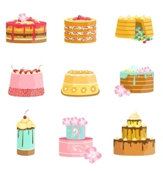Sweet party layered cakes assortment vector