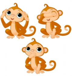 three little monkeys vector image