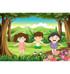 Three playful kids at the jungle vector image vector image