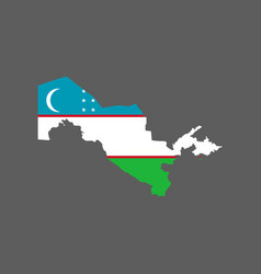uzbekistan flag and map vector image vector image