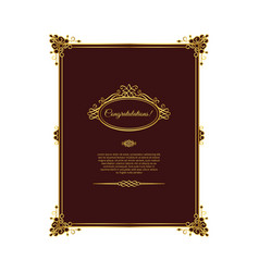 vintage golden template on dark red vector image