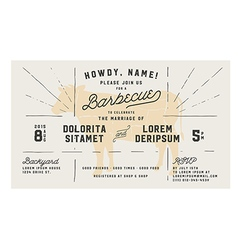 Wedding engagement bbq vintage invitation template vector