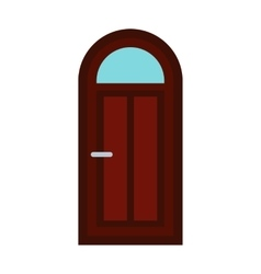 Arched wooden door icon flat style vector image