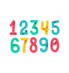 Colorful set of hand drawn numbers isolated on whi vector