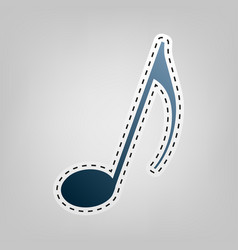 music note sign  blue icon with outline vector image