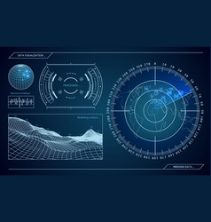 military blue radar screen with target vector image