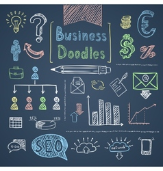 Doodle business set vector