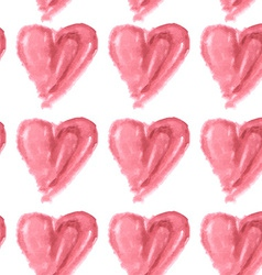 Seamless pattern of pink watercolor hearts on a vector
