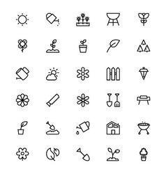 Gardening line icons 1 vector