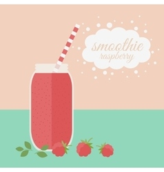 Raspberry smoothie in jar on a table vector