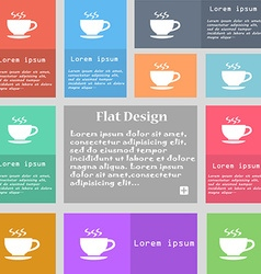 The tea and cup icon sign set of multicolored vector