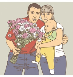 Family with a bunch of flowers vector