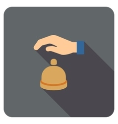 Reception call bell flat rounded square icon with vector