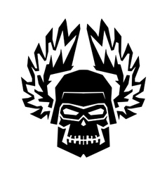 Winged black skull mask in helmet wings of fire vector