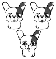 Set of french bulldog puppies vector