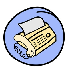 A Fax Telephone on Round Blue Background vector image