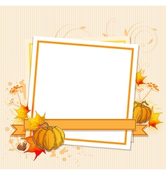 Autumn frame with pumpkins vector image