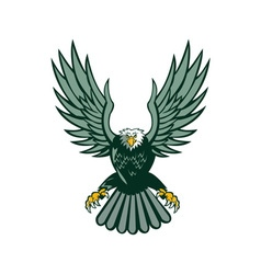 Bald eagle swooping wing spread isolated retro vector