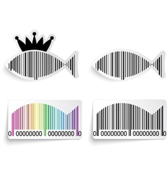 Barcode fish label set vector