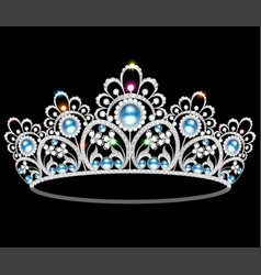 beautiful diadem feminine wedding with pearl vector image vector image
