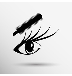 Beautiful female blue eye mascara vector